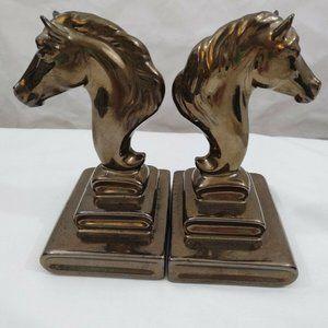 "Horse Bookends Decor Bronze Color Pair 6"" Tall Pr"